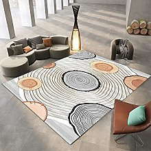 Area Rug,Modern Geometric Round Stakes Annual Ring