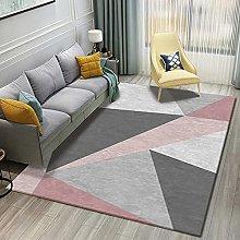 Area Rug,Modern Nordic Simple Pink Gray Geometry