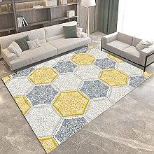 Area Rug - Modern Yellow-Grey Geometry Pattern,
