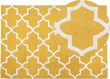 Area Rug Modern Yellow Quatrefoil Pattern Wool