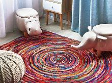 Area Rug Multicolour with Cotton 140 x 200 cm
