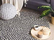 Area Rug Multicolour Wool Felt Balls Hand-Woven