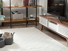 Area Rug Off-White Wool with Cotton 140 x 200 cm