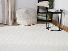 Area Rug Off-White Wool with Viscose 160 x 230 cm
