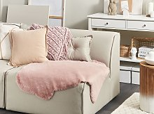 Area Rug Pink Faux Rabbit Fur Polyester 60 x 90 cm