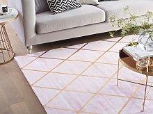 Area Rug Pink Gold Pattern 140 x 200 cm Viscose