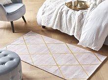 Area Rug Pink Gold Pattern 80 x 150 cm Viscose