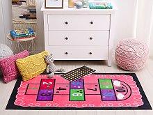 Area Rug Pink Hopscotch Print 80 x 150 cm Low Pile
