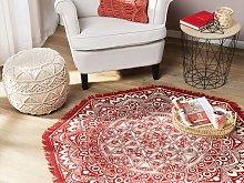Area Rug Red Cotton Oriental Living Room ø 120 cm
