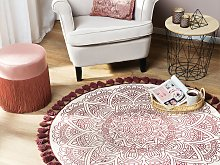 Area Rug Red Cotton Round Oriental Living Room ø