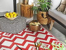Area Rug Red Synthetic Material 120 x 180 cm