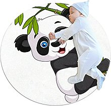 Area Rug Round Carpet Bamboo Panda Rug For Bedroom