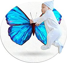 Area Rug Round Carpet Blue Butterfly Rug For