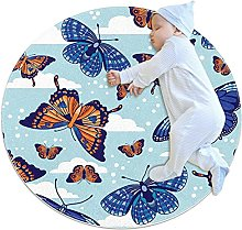 Area Rug Round Carpet Butterfly Sky Rug For