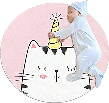Area Rug Round Carpet Cat Unicorn Rug For Bedroom