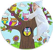 Area Rug Round Carpet Color Owl Rug For Bedroom