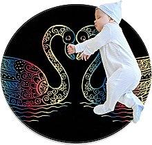 Area Rug Round Carpet Color Swan Rug For Bedroom