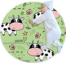 Area Rug Round Carpet Cow Meadow Rug For Bedroom