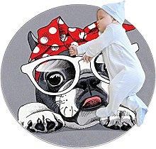 Area Rug Round Carpet Cute Dog Rug For Bedroom