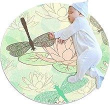 Area Rug Round Carpet Dragonfly Rug For Bedroom