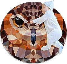 Area Rug Round Carpet Geometric Owl Rug For