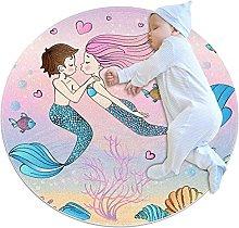 Area Rug Round Carpet Mermaid Couple Rug For