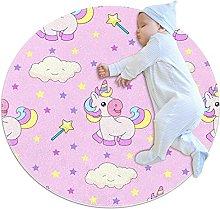 Area Rug Round Carpet Pink Unicorn Rug For Bedroom