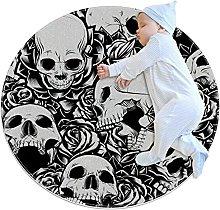 Area Rug Round Carpet Skull Flowers Rug For