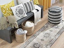 Area Rug Runner Beige Grey 60 x 180 cm Oriental