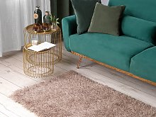 Area Rug Shaggy Beige with Cotton 80 x 150 cm
