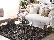 Area Rug Shaggy Brown Leather 140 x 200 cm Shag
