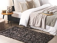 Area Rug Shaggy Brown Leather 80 x 150 cm Shag