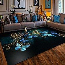 Area Rug,Vinatge European Gold Blue Dreamy