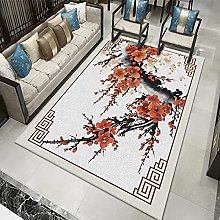 Area Rug,Vintage Classical Chinese Style Red Ink