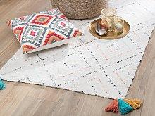 Area Rug White Cotton 80 x 150 cm Rectangular with