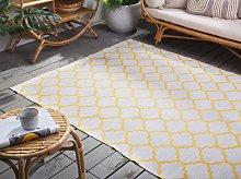 Area Rug Yellow Fabric 140 x 200 cm Reversible