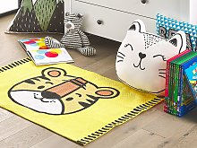 Area Rug Yellow Tiger Print 60 x 90 cm Low Pile