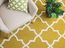 Area Rug Yellow Wool 140 x 200 cm Trellis
