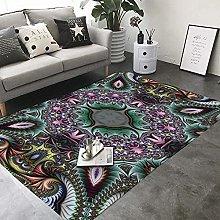 Area Rugs Black purple mandala Soft Flannel Carpet