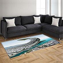 Area Rugs Blue Seaside City Soft Rugs Floor Carpet