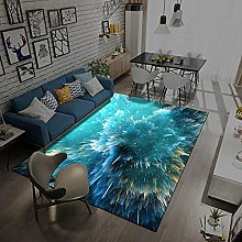 Area Rugs Home Decor Large Carpets Cyan bloom