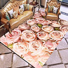 Area Rugs Pale Pink Rose 5.25 x 7.55 feet 3D Super