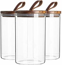 Argon Tableware 3 Piece Glass Jar With Wooden Lid