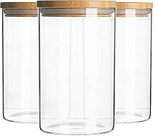 Argon Tableware 6 Piece Glass Jar With Wooden Lid