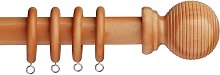 Argos Home 1.2m Grooved Ball Wooden Curtain Pole -