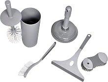 Argos Home 6 Piece Bathroom Cleaning Set - Grey