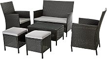 Argos Home 6 Seater Rattan Effect Sofa Set - Dark