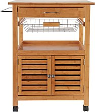 Argos Home Bamboo Top Trolley with Basket