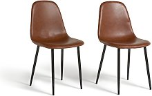 Argos Home Beni Pair of Faux Leather Dining Chairs