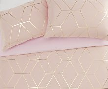 Argos Home Blush Jacquard Geo Bedding Set - Single